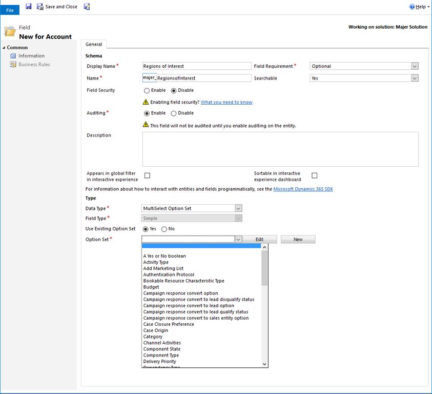 Dynamics 365 Multi-Select Fields - Microsoft Dynamics CRM