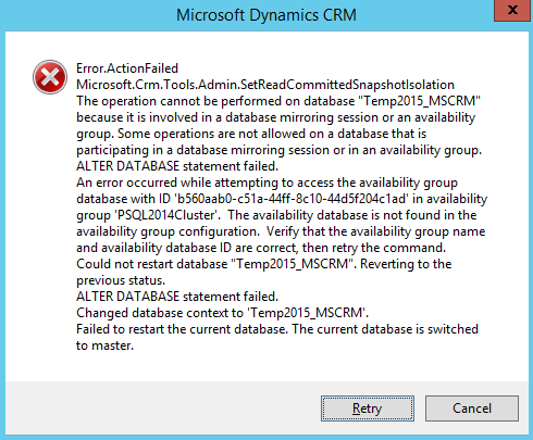 Microsoft Dynamics CRM with SQL AlwaysOn