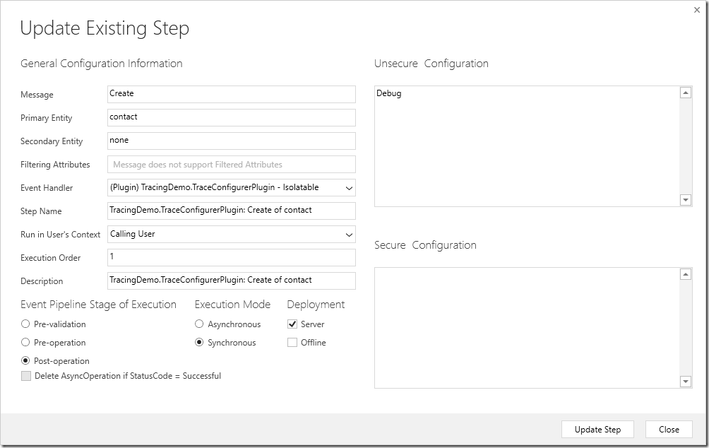TraceConfigurerPluginStep
