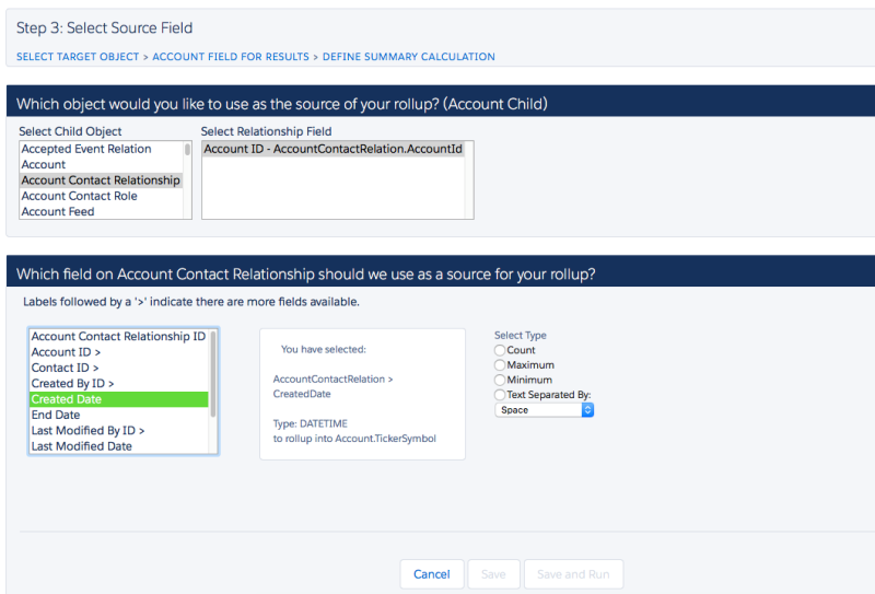 Salesforce Select Source Field