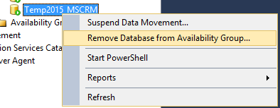 Remove Datasbase from Availability Group